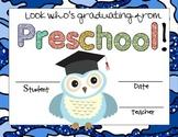 Preschool Graduation Owl Certificates
