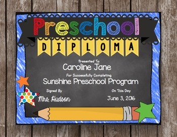 Preschool Graduation Pack - Diploma - Banner - Sign - Announcement - EDITABLE