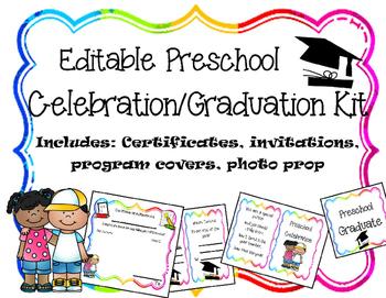 Editable Preschool Graduation/Celebration Printables by Live 4 Learning