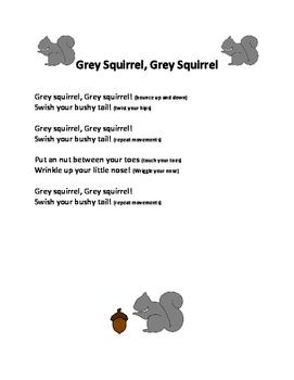 Preschool Grey Squirrel, Grey Squirrel Song Free Printable