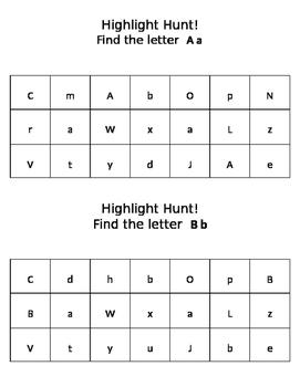Preschool Highlighter Hunt Letter Recognition