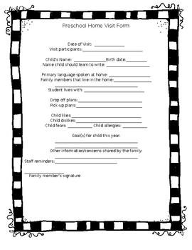 Preschool Home Visit Form