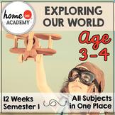 Preschool Homeschool 12-Week Exploring Our World Curriculum Bundle (SEMESTER 1)
