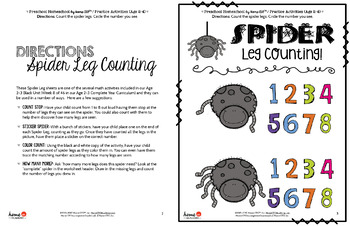 Preschool Homeschool Free Math Activity - Spider Leg Counting