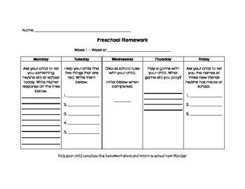 Preschool Homework Calendar