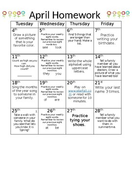 Preschool Homework Calendar April