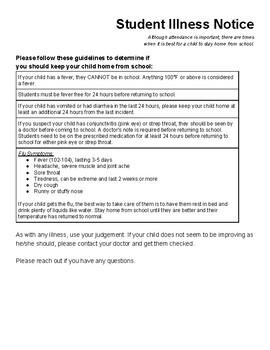 Preschool Illness Form - Stay Home If....