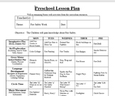 Preschool-Infant Lesson Plan and Detailed Activities- Fire