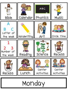 Preschool Interactive Daily Schedule Chart. Preschool-PreK. Homeschool.