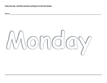 Preschool K3 K4 Kindergarten Days of the Week Coloring Writing Worksheet