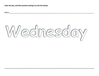 Preschool K3 K4 Kindergarten Days of the Week Coloring Writing Worksheet