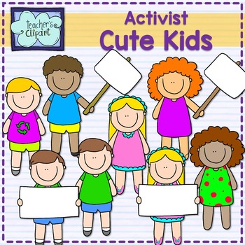 Activist Cute Multicultural Kids Clip art {Blank signs}
