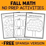 Fall Kindergarten Math Activities