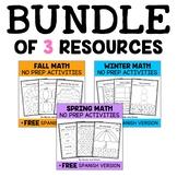 Seasonal Kindergarten Math Bundle