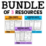 Seasonal Kindergarten Math Bundle