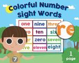 Preschool - Kindergarten Learning Aid, Number Sight Words, 0-11