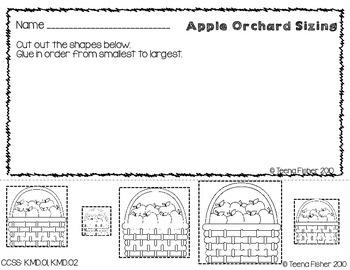 Preschool Kindergarten Math Center Apple Orchard Sizing Pack