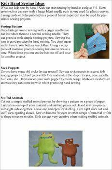 Pre K- Grade 1 Sewing Activities