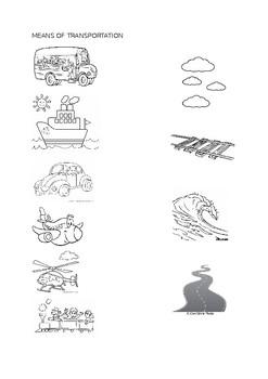 Preschool Kindergarten Worksheet Means of Transportation by ...
