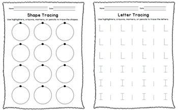 Preschool Kindergarten Writing Progression Packet