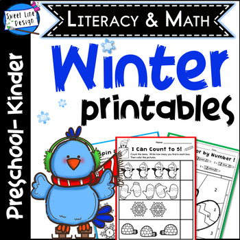 Preschool/Kinder Language Arts & Math Printables - WINTER {Sweet Line Design}