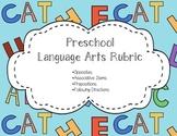 Language Arts Rubric for Preschool