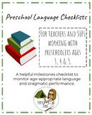 Preschool Language Checklists