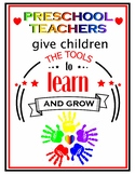 Preschool Learn and Grow Poster