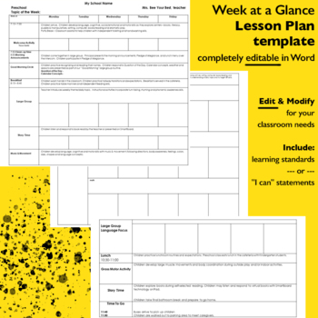 Preschool Lesson Plan Template - EDITABLE FORM