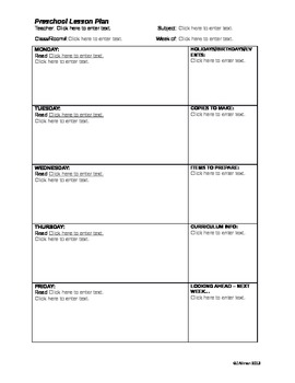 Preschool Lesson Plan Fillable Form