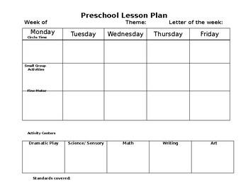 Preschool Lesson Plan Format