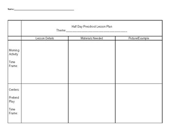 Preschool Lesson Plan Project with Rubric