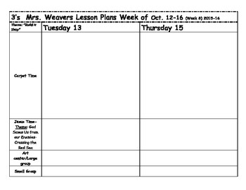 Preschool Lesson Plan Template 2 day Precious Preschoolers