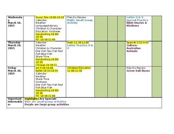 Preschool Lesson Plan Weekly Template