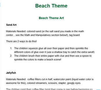 Preschool Lesson Plan and Detailed Activities- Beach Week
