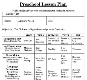Preschool Lesson Plan and Detailed Activities- Dinosaur Week