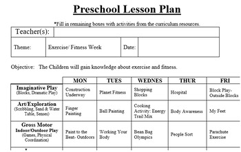 preschool lesson plan and detailed activities exercise and fitness week