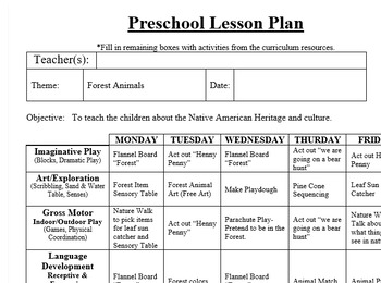 Preschool Lesson Plan and Detailed Activities- Forest Week