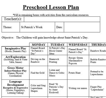 Preschool Lesson Plan and Detailed Activities-St Patrick's Week