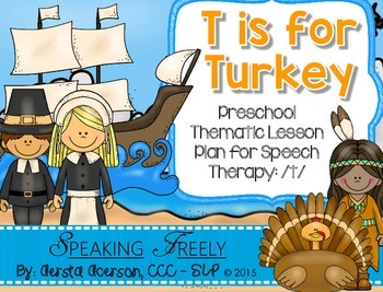 PK Language Lesson Plan for Speech Therapy: T is for Turkey