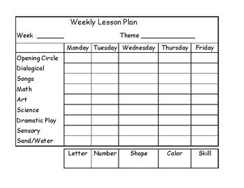 Preschool Lesson Planner
