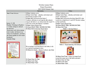 Preschool Lesson Plans - Month of October