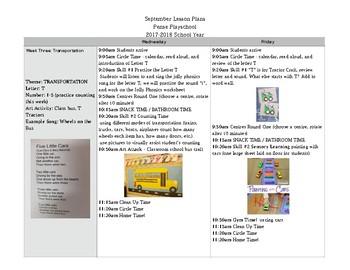 Preschool Lesson Plans - Month of September