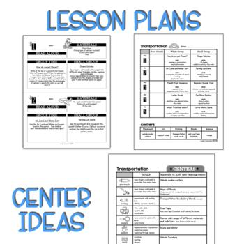 Preschool Lesson Plans- Transportation