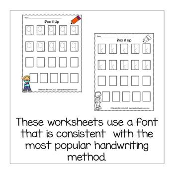 Preschool Letter Handwriting Practice- Box It Up- Lowercase Version