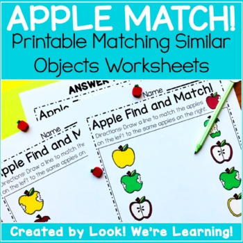 Preschool Matching Worksheets Apple Matching By Look Were Learning