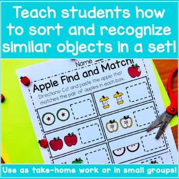 Preschool Matching Worksheets - Apple Matching!