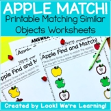 Preschool Matching Worksheets - Apple Matching!