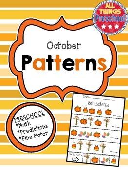 Preschool Math Patterns:  October:  Fall, Apples, Halloween