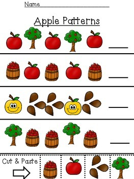 Preschool Math Patterns:  October:  Fall, Apples, Halloween
